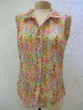ETCETERA ECCOCI COLORFUL SHEER SILK CRINKLE SHIRT TOP BLOUSE size 16