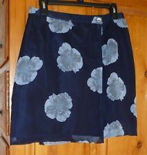 TUNE IN Navy & Blue Floral CHIFFON MINI WRAP SKIRT Lined 29 X 19 EURO sz 38 sz M