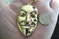 "Vendetta Mask Necklace GOLD Tone BIG Drama V Face Mask Pendant 24"" Chain NEW!"