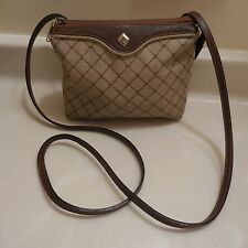 BALLY SMALL BROWN SIGNATURE COATED CANVAS AND LEATHER CROSS BODY PURSE ITALY