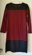 Madewell Mariner Stripe Midi Dress $148 Medium M E6433 nautical Sweater Navy Red