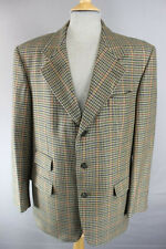 CLASSIC 3 TASCHE PURA LANA SCOZZESE Houndstooth CHECKED GREEN Tweed Giacca 40 in