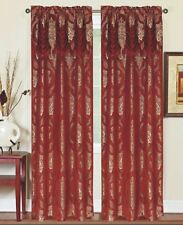 Single (1) Window Curtain Panel Attached Valance: Rod Pocket, Burgundy with Gold