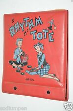Vintage Girls Rhythm Tote Red Vinyl Records Carrying Case 45 RMP Platter Pak Kid