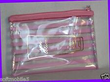 Victoria's Secret PINK WHITE Striped Clear Make Up Cosmetics Bag LOTION CASE