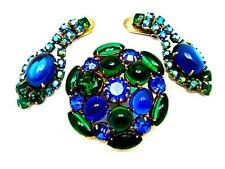 Vtg Blue Green Cabochon Glass Pin Brooch Chandelier Ears Demi Parure D&E Juliana