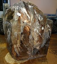 LG. SMOKY QUARTZ CRYSTAL CLUSTER GEODE FROM BRAZIL CATHEDRAL LAMP LIGHT;