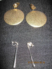 Vintage LOT OF 2 Gold LARGE Round & Silver Long SLENDER Clip Earrings....#6202