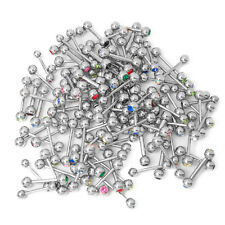 100 Mixed Piercing Barbells - Mixed Gauges/Lengths/CZ Gems