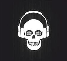Sticker decal art wall car moto DJ biker headphones music turntable laptop skull