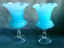 pair of blue Victorian Murano mouth blown hand made glass vases with twist stem