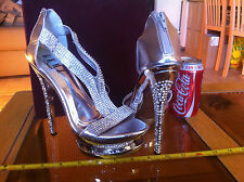 GEMZ London Sexy Silver Strappy High Heels UK Size 5 GLitz High Pole Dancing
