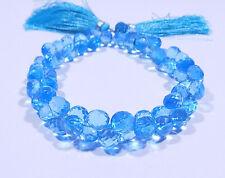 161 Carat Blue Topaz Color Quartz Faceted Heart Shape Beads 8 Inch Strand 8x8 mm