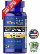 Puritan's Pride Melatonin 10 mg Night Time Sleep Aid 120 Capsules  Free Shipping