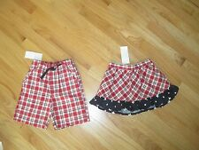 Twin boy girl GYMBOREE PATRIOTIC PLAID SHORTS & RUFFLES SKIRT SET NWT 2T