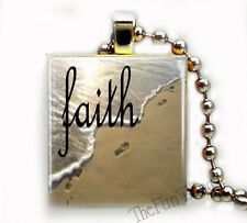 Faith Foot Prints In The Sand Custom Scrabble Tile Pendant Inspirational Jewelry