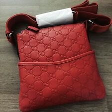 Authentic Gucci Unisex GG Guccissima Red Leather | Crossbody Messenger Bag