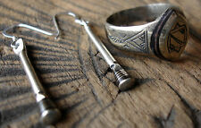 Niger  Tuareg  ebony jewellery set - earrings and ring with  stripes