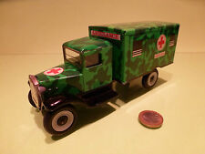 TIN TOYS BLECH VINTAGE MILITARY TRUCK - AMBULANCE - ARMY CAMOUFLAGE GREEN - VG