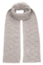 Royal Speyside 100% Cashmere Pointelle Lace Knit Scarf in Light Grey Marl