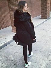 ZARA Black Oversized Fur Hood Parka Coat with Detachable Removable Lining M BNWT