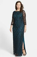 NWOT  black & green  Adrianna Papell scallope sequins laced Gown size 14W