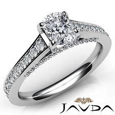 Stunning Cushion Cut Diamond Pave Set Engagement Ring GIA E VVS2 Platinum 1.46Ct
