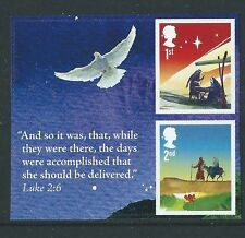 GREAT BRITAIN 2015 CHRISTMAS PAIR WITH BIRD ELLIPTICAL PERFORATION