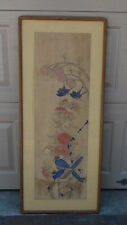 ANTIQUE 19c CHINESE WATERCOLOR PAINTING ON PAPER OF 2 BIRDS AND 2 BUTTERFLIES