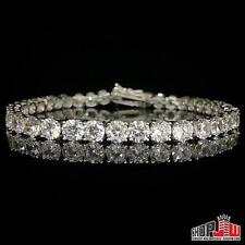 White Gold Finish .925 Silver 1 Row Simulated Diamond Bracelet Mens Tennis 5mm
