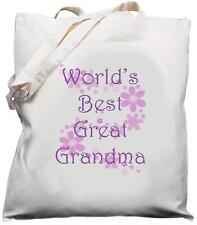 WORLD'S BEST GREAT GRANDMA - NATURAL COTTON SHOULDER BAG / SHOPPER /TOTE -  Gift