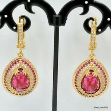 "925 Sterling Silver Hurrem Turkish Handmade Ruby Jewelry Earring 1.5""IP2-61"