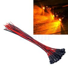 5 x Pre-Wired Orange LED 3mm Clear 12V DC 20cm Cable Plastic Holders MA