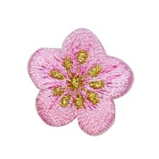 ID 6272 Lot of 3 Tiny Cherry Blossom Flowers Embroidered Iron On Applique Patch