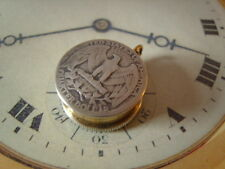 U.S.A. QUARTER DOLLAR COIN POCKET WATCH CHAIN PILL BOX/ FOB. SCREW LID. C1943.