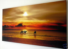 """SUNSET  BEACH HORSE SCENE WALL ART CANVAS PICTURE LARGE 18"""" X 32"""""""