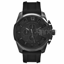 Diesel Authentic Watch DZ4378 Mega Chief Black Dial Chrono Black Silicone Strap