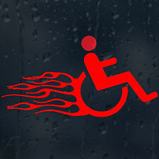 Funny Fast And Furious Wheelchair In Fire Flames Car Decal Vinyl Sticker