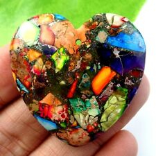 Beautiful Heart Rainbow Sea Sediment Jasper & Pyrite Pendant Bead NO.A5483