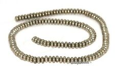 5X3MM PALAZZO IRON PYRITE GEMSTONE RONDELLE 5X3MM LOOSE BEADS 7.5""