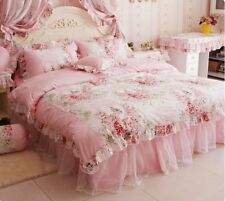 Bedding Queen Set 4 Pieces Girls Cotton Pink Rose Floral Print Duvet Cover Home
