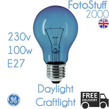 100w E27 Daylight Craftlight GLS Blue Filter Bulb GE 230v | SAD Therapy | Crafts