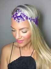 Amethyst Purple Crystal Diamond Jewelled Hair Head Band Choochie Hippy Bohemian