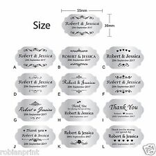 100 x Personalised Wedding Bomboniere Envelope Silver Sticker Seals