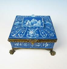 Lebeuf Milliet & Cie Creil Montereau Antique French Pottery JEWELRY BOX Faience