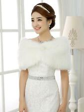 Ivory Trendy Faux Fur Ivory Wedding Bridal Shawl/Wrap Stole Shrug Cape