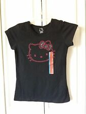 Girls Large 10/12 ~ Hello Kitty Black Tee T-Shirt ~ PInk Silver Bling ~ New!