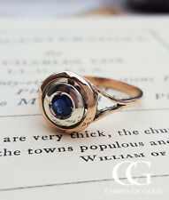 Vintage Antique Inspired 9ct Rose Gold & Blue Sapphire Target Ring