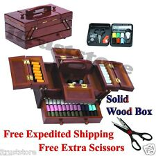 160 Pc Sewing Kit in Rosewood Box include Scissors Needles Thread Pins Ruler etc
