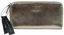 NWT Donna Karan DKNY Gold Lizard Embossed Leather Large Zip Around Wallet